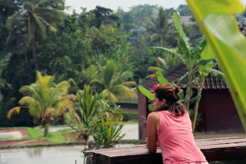 mangeren ayant vue sur les rizières - Bali