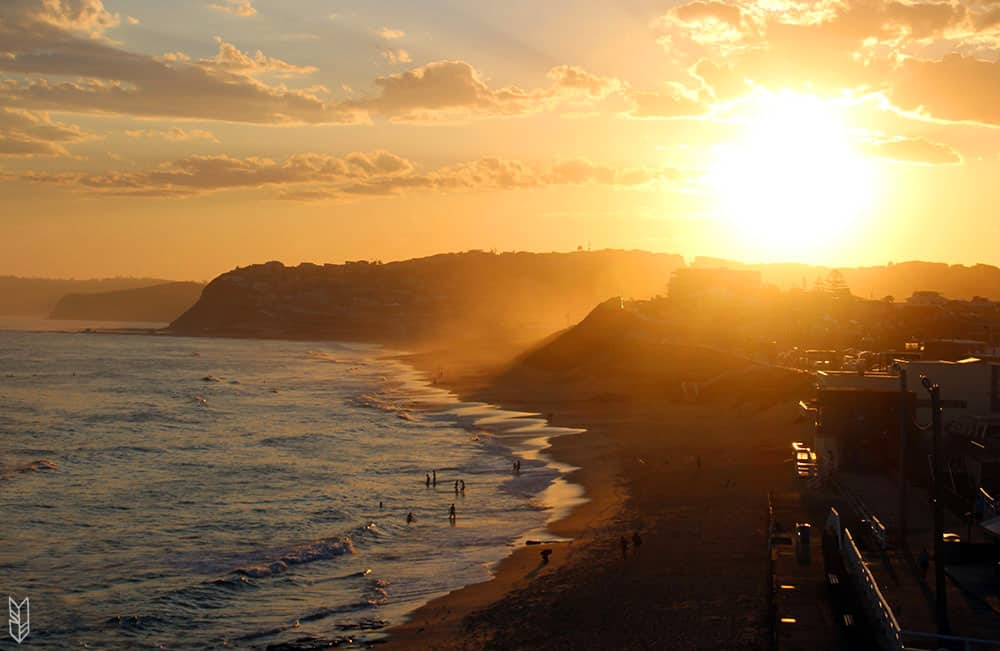 le sunset de Merewether