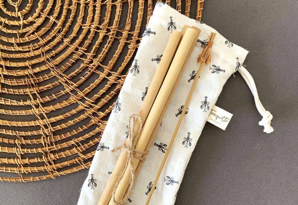 lot de pailles en bambou