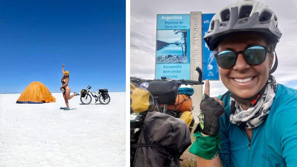 Vanessa dans le désert de sel de Bolivie et en Terre du Feu